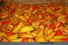 Hähnchenbrustfilet mit Country-Kartoffeln 33 Diet Recipes, Healthy Recipes, Food And Drink, Low Carb, Chicken, Vegetables, Dips, Chicken With Potatoes, Potatoes