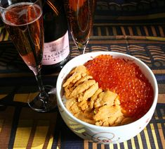 Japanese New Year's Breakfast - Uni Ikura Donburi and Champagne. I ain't gonna wait for the new year!