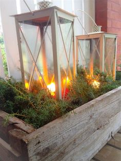Joulukoti - www.opeope.fi Outdoor Christmas, Winter Christmas, Christmas Inspiration, Garden Inspiration, Outdoor Living, Outdoor Decor, Terrace Garden, Candle Lanterns, Front Door Decor