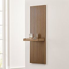 Batten Flat Wall Shelf at Crate and Barrel Canada. Discover unique furniture and decor from across the globe to create a look you love. Wood Slat Wall, Shelves, Interior, Home, Wall Shelves, House Interior, Mirror With Shelf, Batten, Slat Wall