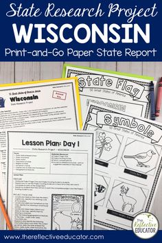 State Research Project | WISCONSIN Print-and-Go Paper State Report is a fun and easy state report project for upper elementary students. This easy-to-use resource includes links to safe reference websites and step-by-step lesson plans to get your students started with an online research project. Students research symbols, the flag, geography, and history. It is fun and easy! Buy State Research Project | WISCONSIN Print-and-Go Paper State Report and take the stress out of planning your… Key Projects, Research Projects, 4th Grade Social Studies, Stressed Out, Upper Elementary, Geography, Missouri, Lesson Plans, Students