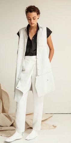 Look 18: Astro Extended Cap Shirt in Artisan Black // Crossover Vest Dress in White/Linen // Crossover Trouser in Sake