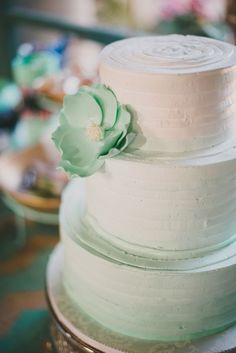 Lovely mint green ombre textured wedding cake
