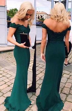 Elegant Prom Dresses,A-line Prom Dresses,Off Shoulder Prom Dresses,Green Prom Dresses,Applique Prom Dresses,Long Evening Dresses,Party Dresses