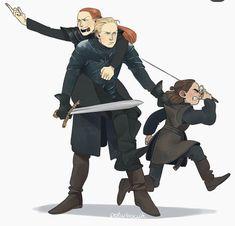 Arya Stark, Sansa Stark, Brienne of Tarth - Game of Thrones Dessin Game Of Thrones, Arte Game Of Thrones, Game Of Thrones Meme, Jaime Lannister, Jaime And Brienne, Live Action, Casa Stark, House Stark, Game Of Thones