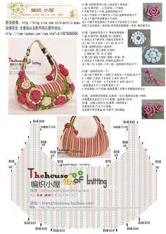 Japanese flower crochet bag