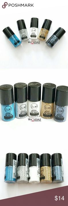 5x Jcat Sparkling Glitters - Blue Golds Set of 5 J.Cat Rockin the Night Sparkling Powder Glitters for Eyes, Face, Body and Nails - All Brand New & Sealed  * Jungle Sapphire  * Lion Silver  * Papaya Whip * Bondi Black * Gold Road J. Cat Beauty  Makeup Eyeshadow