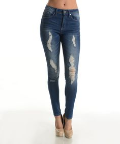 Look at this Dark Blue Wave Distressed High-Waist Skinny Jeans on #zulily today!