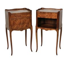 A pair of French 18th Century style night stands in tulip wood, each having a drawer and one with a cupboard.  c.1950's  Measure: 74cm high x 40cm wide x 32cm deep   Stock Code ET02339