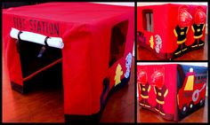 How to make Fire Station Card Table Tent. My grandaughters need this to go with their firetruck ride-ons. Fireman Party, Fireman Birthday, Fireman Sam, 2nd Birthday, Birthday Ideas, Old Sheets, Welcome Door Signs, Table Tents, Table Cards