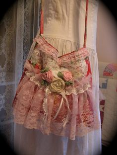 Floral Linen Bag pink ruffled lace girly by TatteredDelicates