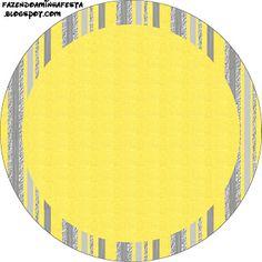 Amarelo e Prata e Cinza - Kit Completo com molduras para convites, rótulos para guloseimas, lembrancinhas e imagens!
