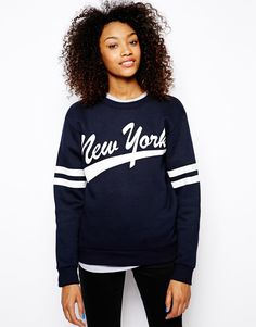 Daisy Street Oversized Varsity Sweatshirt