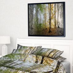 DESIGN ART Designart 'Morning Forest Panoramic View' Landscape Photography Framed Canvas Print