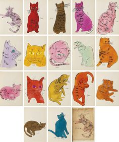 Twenty five Cats Named Sam and One Blue Pussy by Andy Warhol Andy Warhol Drawings, Andy Warhol Art, Cartoon Drawings, Modern Pop Art, Arts Ed, Cat Names, Cat Drawing, Cat Love, Cat Art
