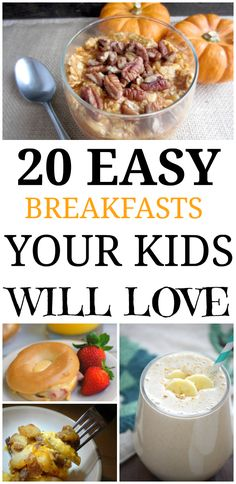 20 delicious and easy breakfast recipes you're kids will love. They're make ahead to make your mornings smooth!