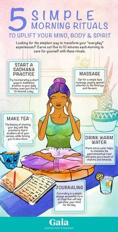 5 Simple Morning Rituals to Uplift Your Mind, Body & Spirit - Ayurveda Lifestyle Meditation Benefits, Healing Meditation, Morning Meditation, Daily Meditation, Bedtime Meditation, Mindfulness Benefits, Yoga Health Benefits, Meditation Corner, Meditation Altar