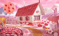 Candy Cottage (russian edition) on Behance Carl Warner, Hansel Y Gretel, Candy House, Candy Art, Scenery Wallpaper, Vanellope, Living Dolls, Matte Painting, Candy Shop