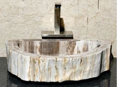 Medium Ivory and Taupe Petrified Wood Sink | Vessel Bath Sink | ArtisanCraftedHome.com