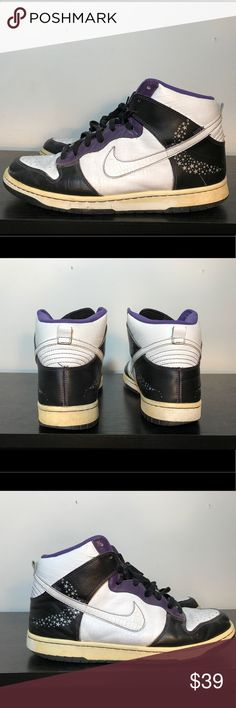 Vintage Nike Dunks Purple/Black/White Size 11 Hello Everybody!!   I'm selling a pair of Nike Dunks without the original box.  Size 11   5/10 condition (marks and creasing throughout shoes).   If you have any questions at all, please feel free to ask! Nike Shoes Sneakers