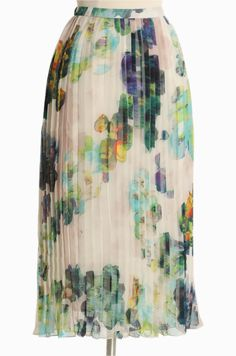 """Fairfield Floral Skirt By BB Dakota 57.99 at shopruche.com. Colorful watercolor flowers bloom on this charming cream chiffon midi skirt by BB Dakota. Crafted with playful sunburst pleats for breezy movement, a hidden side zipper closure, and a banded waist for the perfect fit. Semi-sheer. Fully lined.100% Polyester, Imported, 28"""" length from top of waist"""
