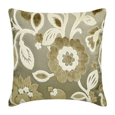 "Decorative Beige And Ivory Throw Pillow Cover, 16""x 16"" Velvet Couch Pillow Cover Couch Pillow Floral Pattern - Fresh And Floral"
