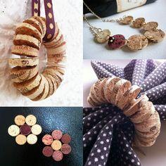bouchon de liège pou fabriquer des ronds de table rustiques, figures en forme de fleur, colliers et autres bijoux