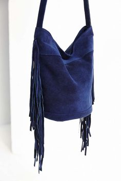Ecote Suede Fringe Bucket Bag