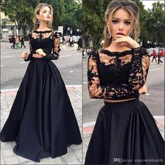 2016 New Black Two Pieces Evening Dresses Sheer Long Sleeves Lace Top Satin A Line Floor Length Prom Dresses Going Out Dresses Petite Dresses From Enjoyweddinglife, $128.8| Dhgate.Com