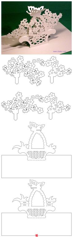 Paper cutting Pop up basket with flowers and butterfly