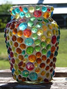 Mexican mosaic vase or candle holder