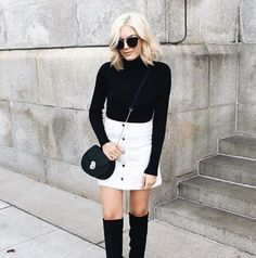 MONOCHROMATIC OUTFIT GOALS with #blogger babe @emily_luciano in the flared button down skirt! http://www.2020ave.com/collections/blogger-faves?utm_source=soldsie&utm_medium=referral&utm_campaign=160112_bloggerfaves