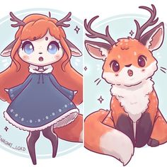 Thought I'd try something fun with my animal fusions :3 basically... what if they were cute girls though?! (um and if female deer don't technically have antlers she can be part reindeer because they do :3) Also I'll be closing my Etsy on the 20th for the holidays (it'll be open some time in the new year) so if you'd like to get an order in do it now :3 (orders will probably not make it before Xmas though so keep that in mind ) • #fox #redfox #deer #stag #doe #cute #kawaii #chibi #pr...