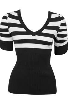 Striped Ruched Sleeve Sweater                                                                        front view