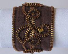 Rhinestone Recycled Vintage Zipper Cuff Bracelet by Rezipit