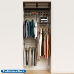 "Whether you need storage in a small entryway closet, kid's room or guest closet, our Elfa Classic 3' Closet Starter Kit gives you everything you need to make the most of your space. Incredibly strong and completely adjustable, this basic Elfa Classic closet can be set up in a variety of ways, giving you the flexibility to create the storage you need. This solution is designed for a 39"" space, and can be adjusted or redesigned to accommodate your specific needs. Elfa Closet, Entryway Closet, Closet Rod, Closet Space, Small Closet Organization, Clothing Organization, No Closet Solutions, White Closet, Hanging Clothes"