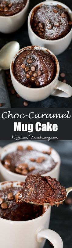 Chocolate Caramel Mug Cake – filled with Rolos – when you need dessert NOW! The perfect quick dessert for one.