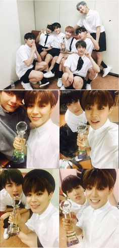 BTS celebrate their 'Music Bank!' win with selcas | allkpop