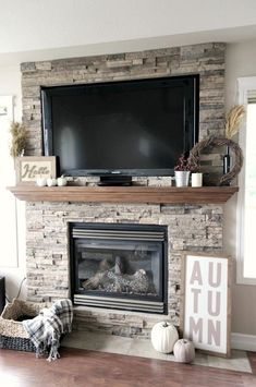 61 Trendy Living Room Kitchen Open Concept Stone Fireplaces concept fireplaces k. Stone Fireplace Decor, Farmhouse Fireplace, Home Fireplace, Fireplace Remodel, Living Room With Fireplace, Fireplace Design, Living Room Kitchen, Fireplace Brick, Fireplace Mantels