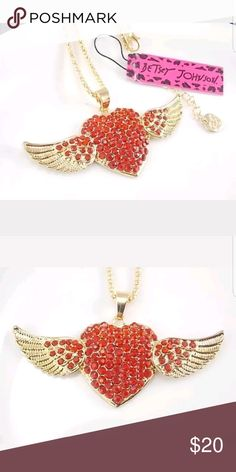 Red Angle Wings Heart Necklace by Betsey Johnson New with tags. Betsey Johnson Jewelry Necklaces