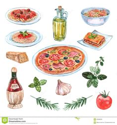 Italian Food Watercolor Set Royalty Free Stock Photo