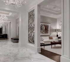 cool mirror and mullion wall or whatever that is white white white  looks nice