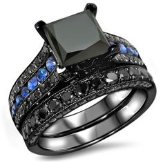 Shop for Black Gold 4 TDW Certified Black Diamond and Blue Sapphire Bridal Ring Set. Get free delivery On EVERYTHING* Overstock - Your Online Jewelry Destination! Princess Wedding Rings, Blue Wedding Rings, Bridal Rings, Princess Cut, Black Diamond Wedding Sets, Round Diamond Engagement Rings, Sapphire Blue Weddings, Promise Rings For Couples, Black Sapphire