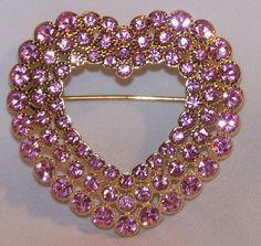 Rhinestone Heart Pin Brooch-Pink Stones-VALENTINE-Signed Monet-New in Gift Box #Monet