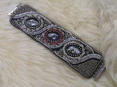 Catrina jewels: Bead Embroidery bracelet ( feathers) nr 9