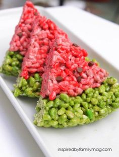 12 Simple and Fun Summer Snacks.  Ok this is Watermelon Shaped Rice Krispies.  At first glance it looks like red ground meat with peas.  But now looking at it ok.  Super cute.