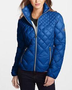 Michael Kors Quilted Down Jacket Blue Jacket, Light Jacket, Dope Fashion, Fashion Trends, Quilted Jacket, Fashion Tips For Women, Jackets Online, Handbags Michael Kors, Outerwear Women