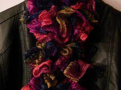 Crocheted Magenta Blue Pink & Green Ruffle by MannaberryOriginals, $12.00