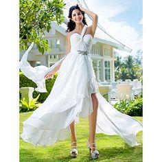 Vestido de Noiva Trapézio/Princesa Um Ombro Só/Coração Assimétrico/Mullet (Chifon) – CAD $ 159.59