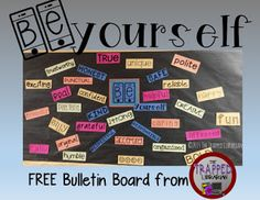 Be Yourself Bulletin Board Kit from The Trapped Librarian! Ready to print - just add colorful paper and a paper cutter and you're ready to go. Inspire your students and teachers to be the best that they can be! Selfie Bulletin Board, School Welcome Bulletin Boards, Library Bulletin Boards, Bulletin Board Display, Middle School Libraries, Elementary School Library, Inspirational Bulletin Boards, Classroom Freebies, Classroom Themes